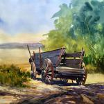 "BOHLMAN, TINA Waxahachie, Texas ""Western Transportation"" - 16x16 - Watercolor"