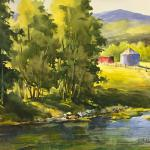 "BOHLMAN, TINA Waxahachie, Texas  ""Spring Creek Crossing"" - 16x20 - Watercolor"