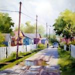 "BOHLMAN, TINA Waxahachie, Texas  ""Rainbow Row"" - 20 x 24 - Watercolor"