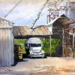 "BOHLMAN, TINA Waxahachie, Texas ""Waitin' on a Load""   12x12 -   Watercolor"