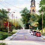 "BOHLMAN, TINA Waxahachie, Texas  ""A Day in Cambridge""  11x14 - Watercolor"