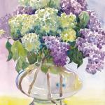 "DUBREUIL, DIANE___ "" Hydrangeas and Lilacs "" ___      11 x 15 WC"