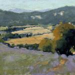 "Levine, Sherrie Russ    ___ ""  View  Over The Luberon Valley ""    ___Oil on linen 10 x 20  $1200.00 USD"