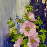 "ALLEN,LESLIE ""Hollyhocks Abstracted""   14 x 11 Oil/Linen/Panel PA"