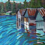 "CHADWICK, PHIL - ""Outlet Row of Boat Houses"" Oil on medium burnt sienna red oil tinted foundation on canvas - 10 x 12  -  I have painted here before...  forget. It is a great place to paint out of the wind. There is poison ivy though and I have to be careful. The black flies were h"