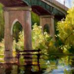 "Ruth Cox   ___ "" Conway Bridge""   ___ oil    11x14"