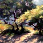 "Ruth Cox___ "" Beach Trees ""   ___ oil   9x12"