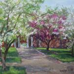 "WITT, MARILYN Indiana ""New Harmony Spring"" 11x14_pastel  New Harmony, Indiana is beautiful in the spring.  This entrance to the Roofless Church was especially pretty with all the crabapple trees in bloom."
