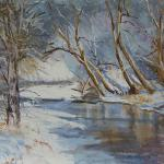 "WITT, MARILYN Indiana ""Snow on the Whitewater 11x14_pastel  I have painted the Whitewater River near my home in Indiana in all seasons.  The winter is my favorite."