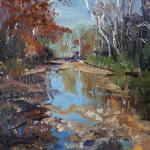 "WITT, MARILYN Indiana ""Whitewater River in the Fall"" 14x11 oil The Whitewater River near Brookeville, Indiana is beautiful in the fall with the reflections in the clear water."