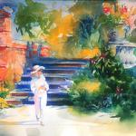 CHITVANNI, VALERIE BETTY IN THE BOTANICAL GARDEN  18 X 24 inches watercolor  Georgia