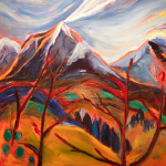 "GALE, BRANDY KINETIC NATURE  Oil on gallery wrapped canvas Size: 40"" x 40"" Painted on location in British Columbia, Canada  Private Collection"