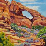 "HOFREITER, BRENDA ""Landscape Arch -  Arches National Park""  16"" x 12"" Plein Air Oil on Canvas Advisory Panel - Signature - Retired"