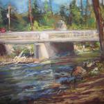 "POWZANIUK, OLYA Basking Ridge, NJ ""New Bridge"" 9x12 pastel  BEST in SHOW for the first PA event done on 40+ degree day"