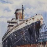 "STRACK, ANNIE ... ""SS United States"" ... watercolor  ... 6x6"